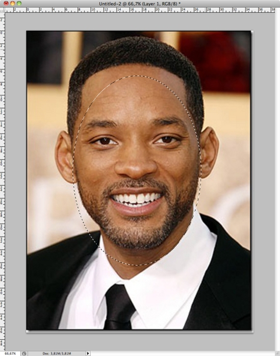 Will Smiths face selected with the elliptical marquee tool